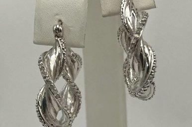 Sterling Silver Twisty Hoop Earrings