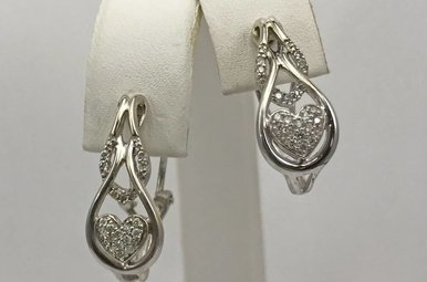 Sterling Silver 1/5ctw Diamond Heart Earrings