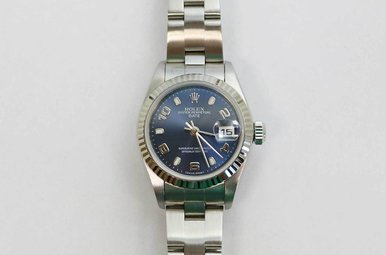 STAINLESS PREOWNED LADIES ROLEX DATE WITH FLUTED BEZEL & OYSTER BAND