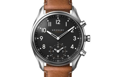 Kronaby Apex 43mm Steel - Black, Brown Leather Watch A1000-0729