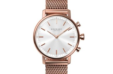 Kronaby Carat Rose 38mm - White, Rose Mesh Bracelet Watch A1000-1400