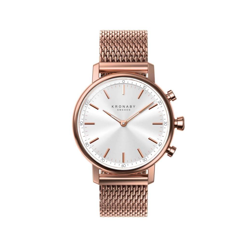 Kronaby Carat Rose 38mm - White, Rose Mesh Bracelet Watch A1000-1400