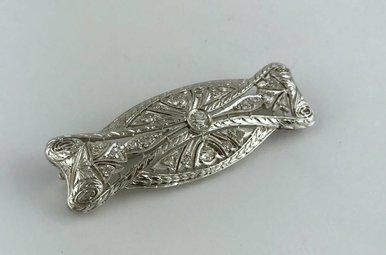 Platinum Old European Diamond Hand-engraved Brooch