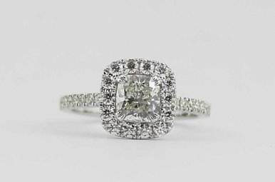 14KW 1.01CT-CTR 1.54CTW HALO DIAMOND ENGAGEMENT RING WITH CUSHION CUT CENTER
