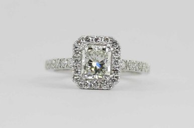 14KW 1.01CT-CTR 1.48CTW HALO DIAMOND ENGAGEMENT RING WITH RADIANT CENTER