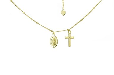 14k Yellow Gold Virgin Mary & Cross Adjustable Choker Necklace 16""