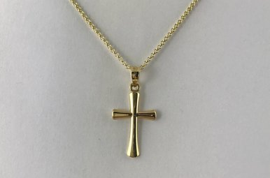 10k Yellow Gold Polished Cross Necklace 18""