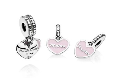 PANDORA Charm, Mother & Daughter Hearts, Soft Pink Enamel & Clear CZ