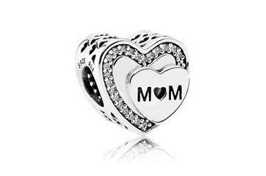 PANDORA Charm Tribute to Mom, Clear CZ