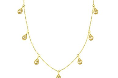 14k Yellow Gold 1/6ctw Diamond Teardrop Dangle Adjustable Necklace 18""