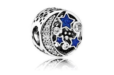 PANDORA Charm Vintage Night Sky, Shimmering Midnight Blue Enamel & Clear CZ