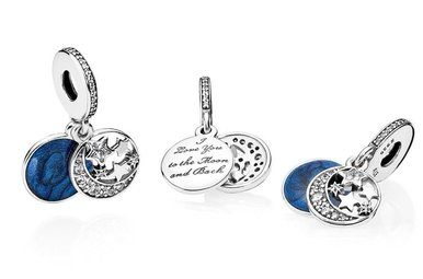 PANDORA Dangle Vintage Night Sky with Shimmering Midnight Blue Enamel and Clear Cubic Zirconia - one charm