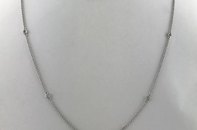 """14k White Gold .15ctw Diamond By The Yard Adjustable Necklace 18"""""""