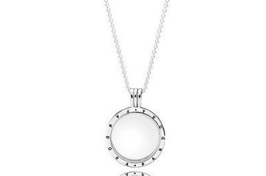 PANDORA Floating Locket, Medium, Sapphire Crystal Glass - 60 cm / 23.6 in