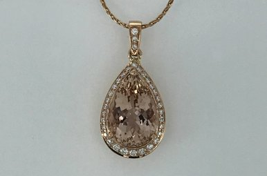 14k Rose Gold .20ctw Diamond 3.7 Morganite Pear Halo Necklace