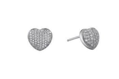 Lafonn Heart Earrings Sterling Silver 68 stone 0.68 CTTW