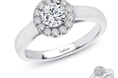 Lafonn SS simulated diamond 14 stone 0.66 CTTW ring, Size 7; Round Halo, Bridal