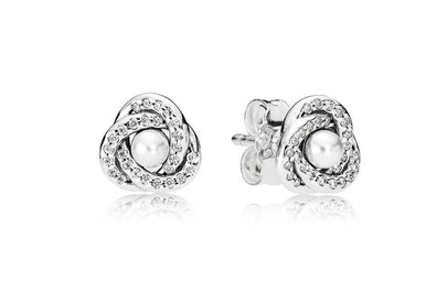 PANDORA Stud Earrings, Luminous Love Knot, White Pearls & Clear CZ