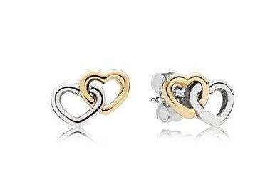 PANDORA Stud Earrings, Heart To Heart, 14k & Sterling Silver