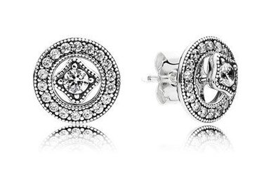PANDORA Detachable Stud Earrings Vintage Allure with Milgrain Details and Clear Cubic Zirconia