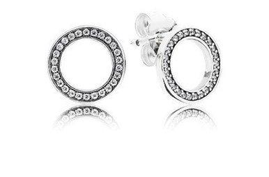 PANDORA Stud Earrings, Forever PANDORA, Clear CZ