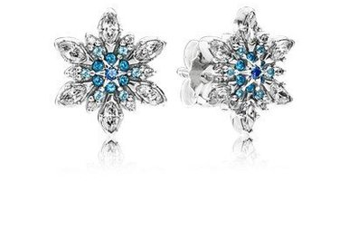 PANDORA Stud Earrings, Crystalized Snowflake, Blue Crystals & Clear CZ