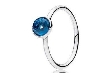 PANDORA Ring, December Droplet Birthstone, London Blue Crystal - Size 54