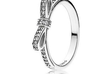 PANDORA Ring Sparkling Bow, Clear CZ - Size 54