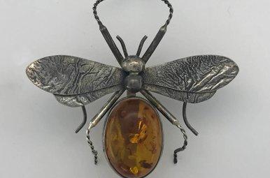 Sterling Silver Amber Cabochon Bug Vintage Estate Brooch