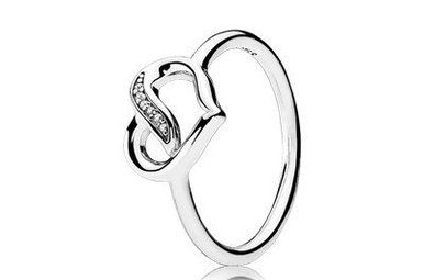 PANDORA Ring, Ribbons of Love, Clear CZ - Size 54