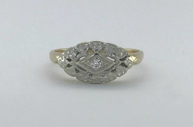 14k Yellow Gold Diamond Marquise Shape Vintage Estate Ring (Size 8)