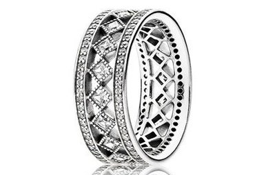 PANDORA Ring Vintage Fascination with Milgrain Details and Princess-Cut Clear Cubic Zirconia Sterling silver - Size 60