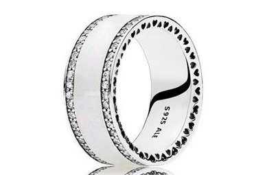 PANDORA Ring, Hearts of PANDORA, Silver Enamel & Clear CZ - Size 56