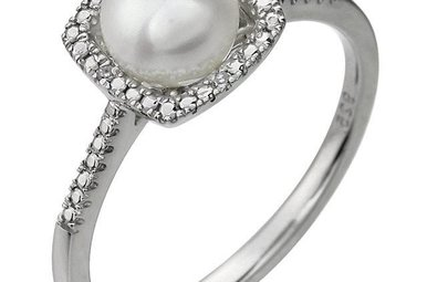 Sterling Silver June Birthstone Ring (Freshwater Pearl & .01ctw Dia)