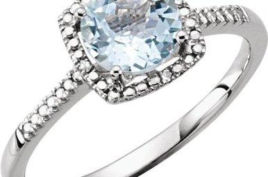 Sterling Silver March Birthstone Ring (Aquamarine & .01ctw-Dia)