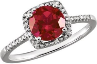 Sterling Silver July Birthstone Ring (Created Ruby & .01ctw-Dia)