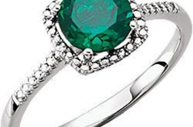 Sterling Silver May Birthstone Ring (Created Emerald & .01ctw-Dia)