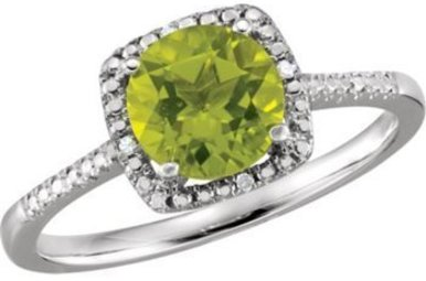 Sterling Silver August Birthstone Ring (Peridot & .01ctw Dia)