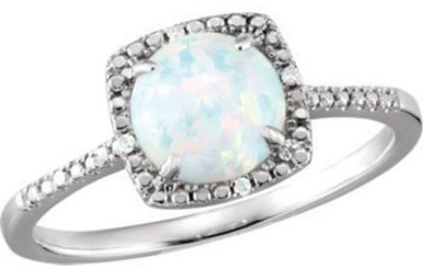 Sterling Silver October Birthstone Ring (Created Opal & .01ctw-Dia)
