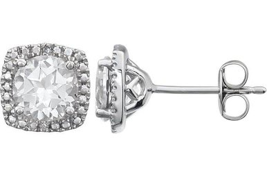 Sterling Silver April Birthstone Stud Earrings (Created White Sapphire & .01ctw-Dia)