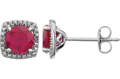 Sterling Silver July Birthstone Stud Earrings (Created Ruby & .01ctw-Dia)