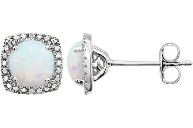 Sterling Silver October Birthstone Stud Earrings (Created Opal & .01ctw-Dia)