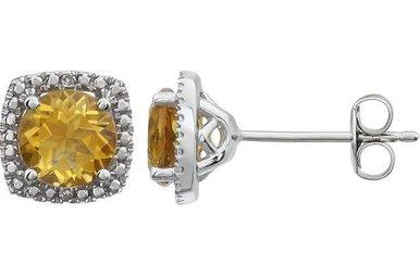 Sterling Silver November Birthstone Stud Earrings (Citrine & .01ctw-Dia)