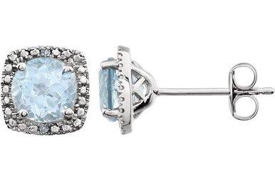 Sterling Silver December Birthstone Stud Earrings (Blue Topaz & .01ctw-Dia)