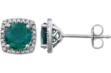 Sterling Silver May Birthstone Stud Earrings (Created Emerald & .01ctw-Dia)