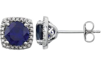 Sterling Silver September Birthstone Stud Earrings (Created Blue Sapphire & .01ctw-Dia)