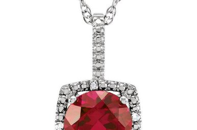 Sterling Silver July Birthstone Necklace (Created Ruby & .01ctw-Dia)