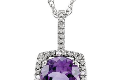Sterling Silver February Birthstone Necklace (Amethyst & .01ctw-Dia)