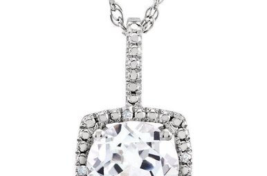 Sterling Silver April Birthstone Necklace (Created White Sapphire & .01ctw-Dia)