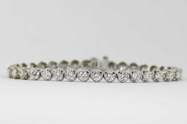 14KW 6-3/4CTW LADIES ROUND BRILLIANT DIAMOND TENNIS BRACELET